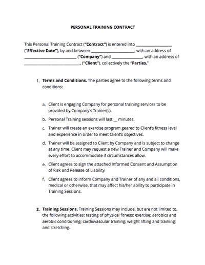 personal training contract  sample docsketch