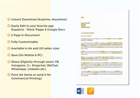 letter  recommendation template  word google docs