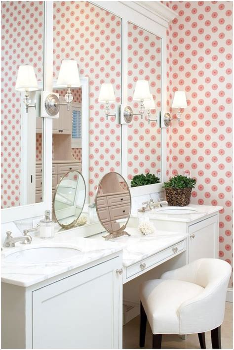 double vanity with makeup table circular wallpaper