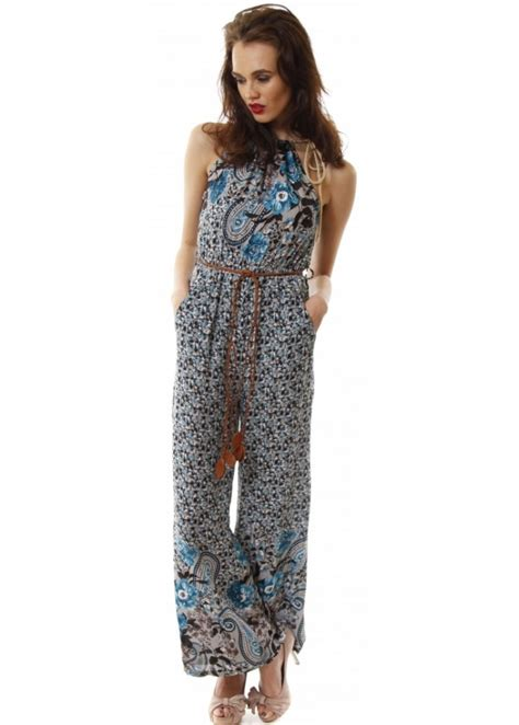 blue floral jumpsuit blue summer jumpsuit cheap jumpsuit