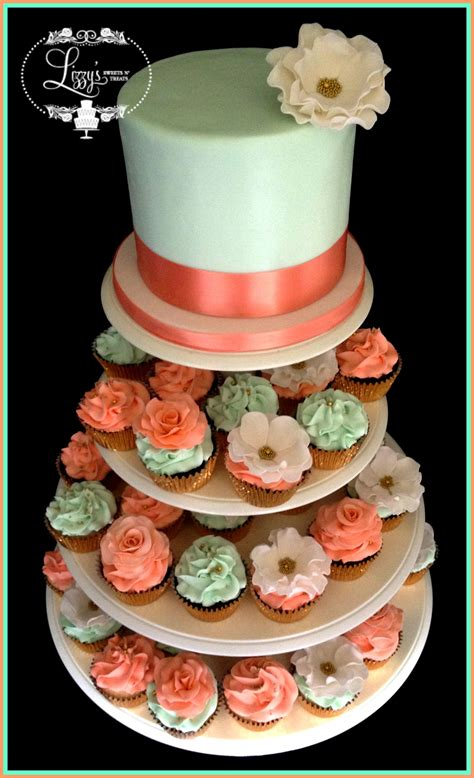 Shabby Chic Wedding Cake And Matching Cupcake Coral And Mint