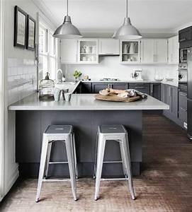 La cuisine en u avec bar voyez les dernieres tendances for Idee deco cuisine avec cuisine blanc et gris anthracite