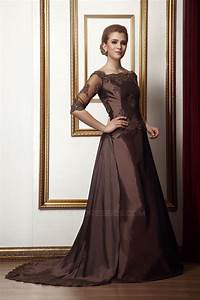 Options Light Chocolate A Line Off The Shoulder Applique Mother Of The Bride