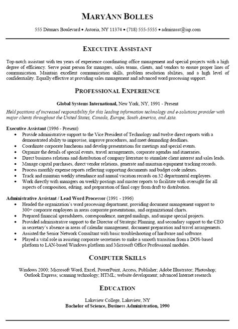 resume summary exles for executive assistant with