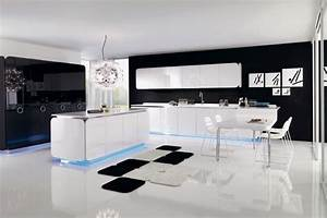 Luxury Black and White Kitchen with Modern Lighting Effect ...