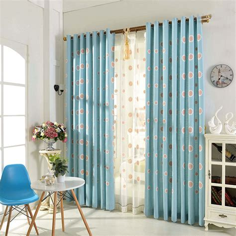 patio window curtains blue floral embroidery linen living room curtains