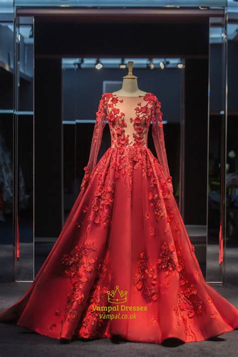 red sheer lace applique long sleeve dress vampal dresses