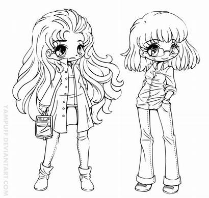 Yampuff Chibi Pages Coloring Human Colouring Lineart