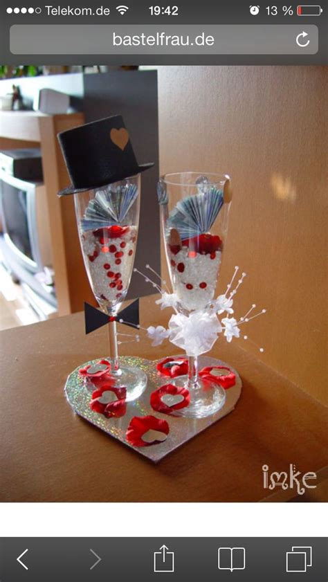 geldgeschenk im sektglas zur hochzeit bastelideen geldgeschenke hochzeit basteln