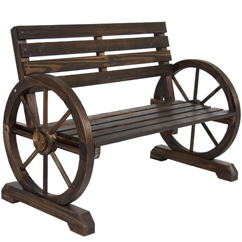 bcp patio garden wooden wagon wheel bench rustic wood