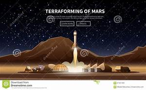 The First Colonies. Terraforming Of Mars. Stock Vector ...