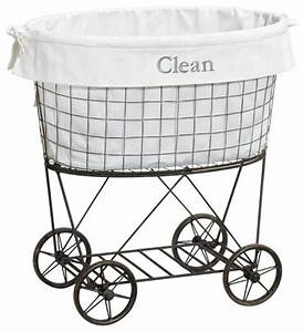 Rolling Wire Hamper & Liner - Traditional - Hampers - by ...
