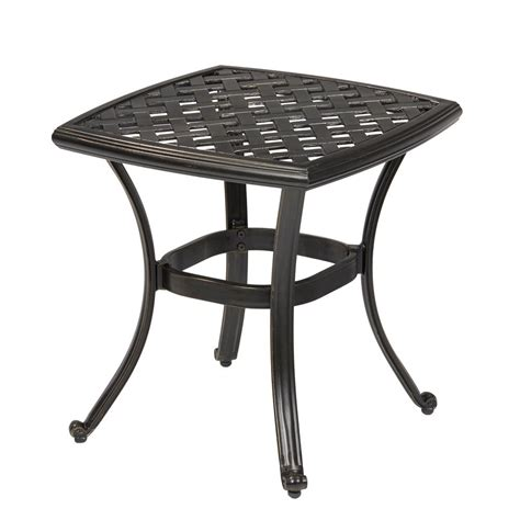 garden side table metal hton bay spring haven brown all weather wicker patio