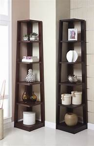 Corner Tower Shelf, Available in Walnut and Black