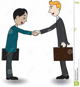 Two Businessmen Shaking Hand, Vector Illustration, Cartoon ...