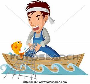 Clipart of fisherman, pulling, net, fishing net, fishing ...