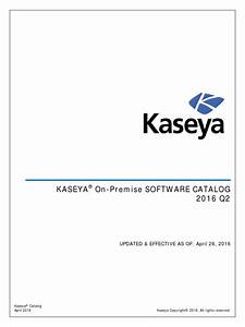 Kaseya K3 On Premises Catalog V160426