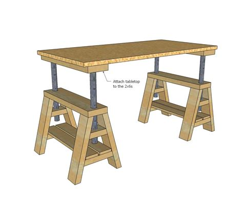 ana white build  modern indsutrial adjustable sawhorse desk  coffee table   easy