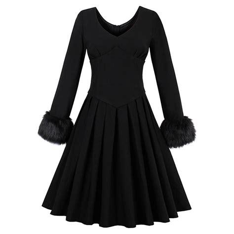 Womens Elegant Vintage Black V Neck Long Sleeve High