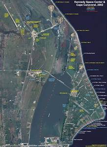 Map of launch pads at Cape Canaveral in Florida, USA ...