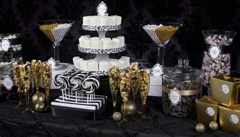 black and white candy table studio 54 sweet table new years eve party pinterest