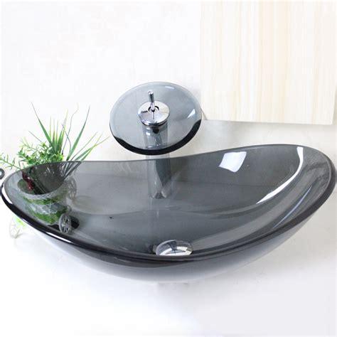 waschbecken mit armatur eu lager modern waschbecken oval grau transparent glas mit wasserfall armatur set