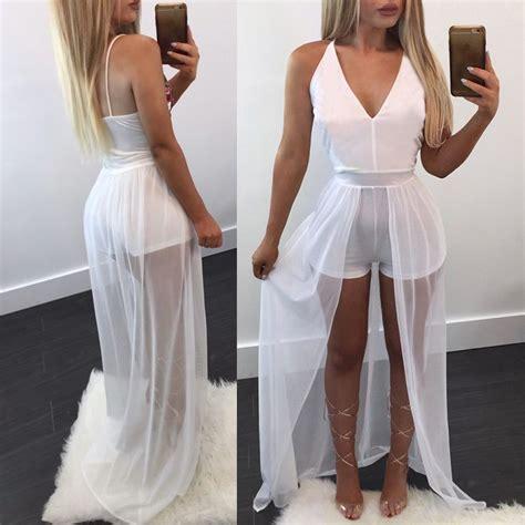 women elegant solid short jumpsuit sheer dress overlay