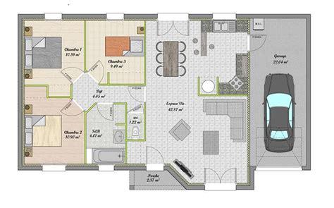 plan maison 90m2 3 chambres plan maison plain pied gratuit 3 chambres
