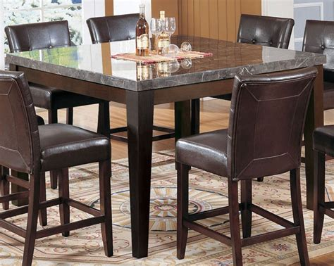 espresso counter height dining table acme danville marble top square counter height dining