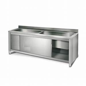 Meuble Sous Evier 90 Cm : meuble sous vier professionnel 2 cuves 90 x 50 x 35 cm ~ Dailycaller-alerts.com Idées de Décoration