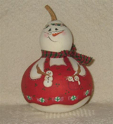 17 best images about painted gourds snowman on gourd crafts ornaments and - Christmas Gourds Crafts