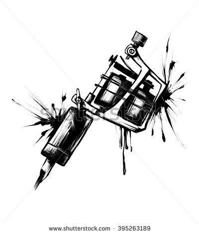 tattoo machine vector illustration  blue stock vector