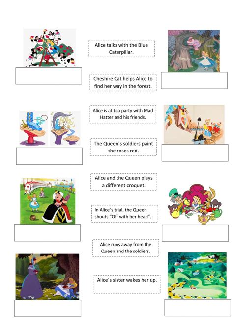 alice  wonderland story sequence worksheet