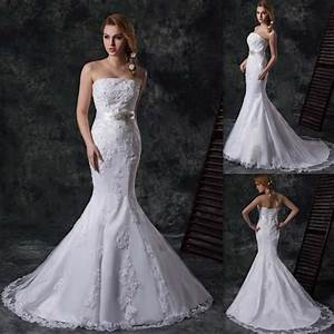 Modern Strapless Mermaid Wedding Dresses Ivory Lace And ...