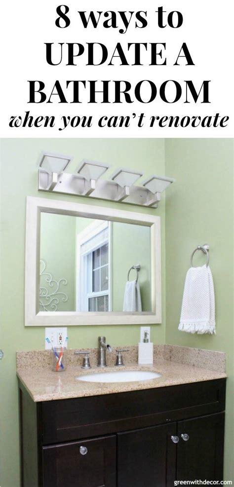 easy affordable bathroom update banner green  decor