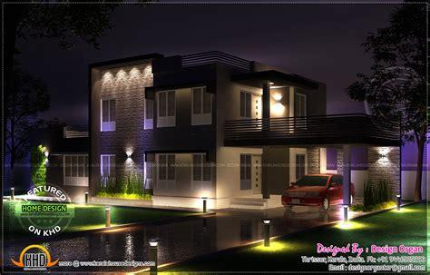 night view rendering  flat roof house kerala home design  floor plans