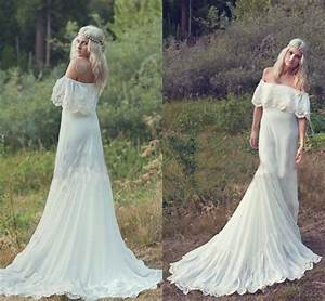 2016 bohemian styles a line cheap wedding dresses hippie With bohemian wedding dresses cheap