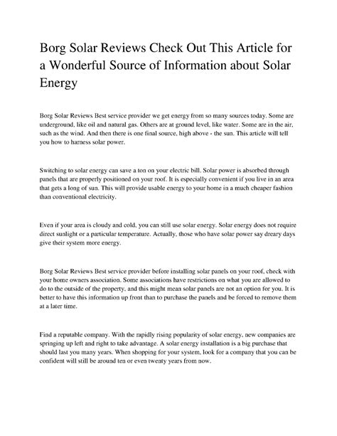 Borg Solar Reviews Check Out This Article For A Wonderful