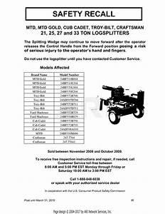 Troy Bilt 24bf572b711 Ls27 Log Splitter  2009   S  N