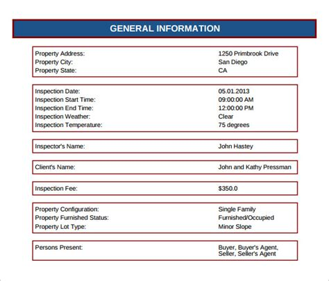 home inspection report 12 sle home inspection reports sle templates