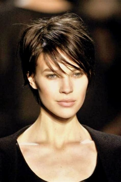 brunette short hair hair style and color for woman