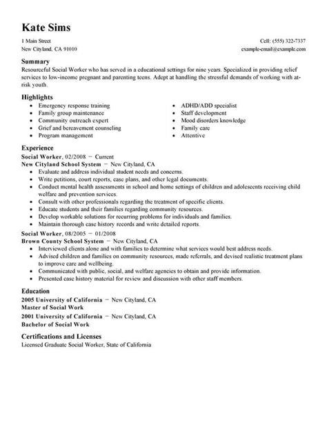 Social Work Resume Templates by Resume Exles Social Work Exles Resume