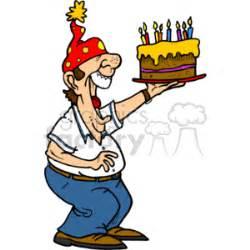 man holding  big birthday cake clipart royalty