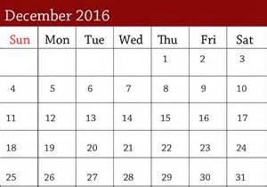 Printable Calendar December 2016 January 2017
