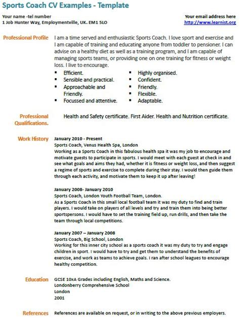 professional basketball resume exles sports coach cv exle professional cv exles