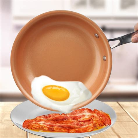 stick skillet copper red pan ceramic induction skillet frying pan saucepan oven dishwasher