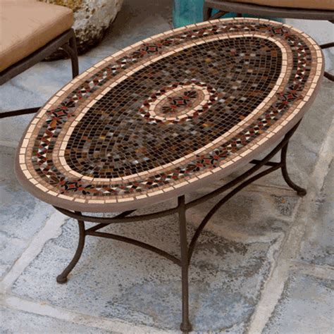 knf garden designs mosaic oval coffee table 54x32