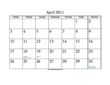 foto de April 2011 Calendar with Jewish holidays
