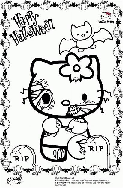 Coloring Kitty Hello Halloween Pages Popular