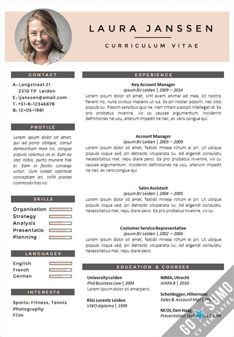 Curriculum Vitae Pages Template by Cv Template Milan Go Sumo Cv Template